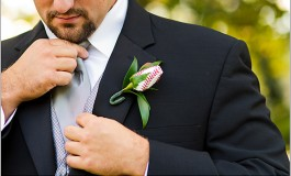 Meredith and Nick's Baseball Wedding Boutonniere