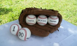 Guest Book Table at Baseball Themed Wedding