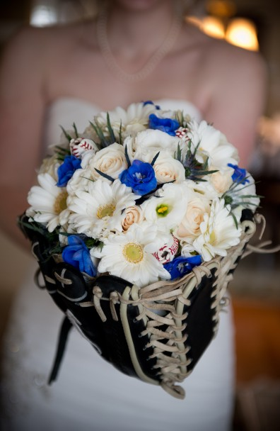 Blue Jays Bridal Bouquet Glove with Baseball Roses