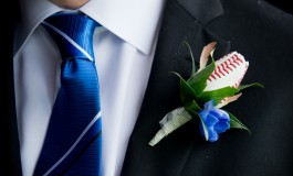 Baseball Rose Boutonniere for Blue Jays Themed Wedding