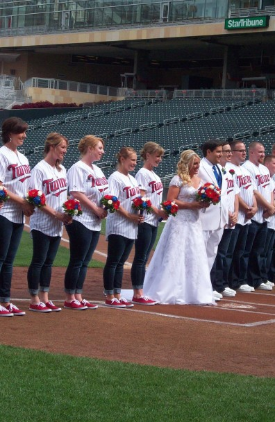 Bridesmaids bouquets with Baseball roses