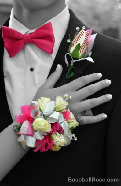 Caleb's Baseball Rose Boutonniere For Prom