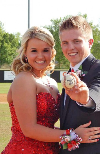 Courtney and Mason's Senior Prom with Baseball Rose Corsage and Boutonniere
