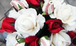 Baseball Wedding with Baseball Rose Bridal Bouquet