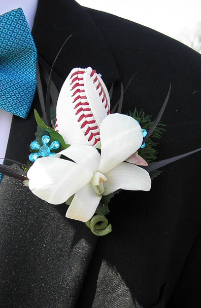 Bobby and Lauren's Prom with Baseball Rose Boutonniere